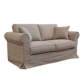 Canapé 2 places en tissu marron clair - Crowson - Visuel n°3