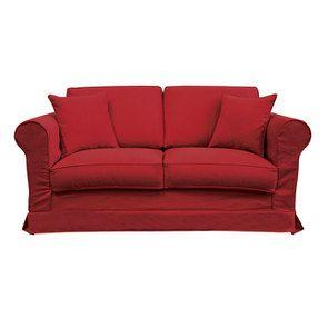 Canapé 2 places en tissu rouge - Crowson - Visuel n°1