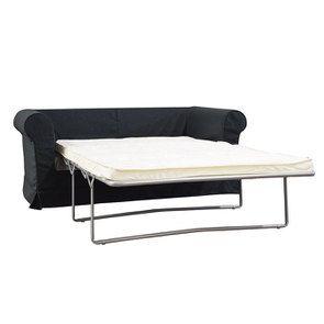 Canapé convertible 2 places en tissu lin anthracite - Crowson - Visuel n°3