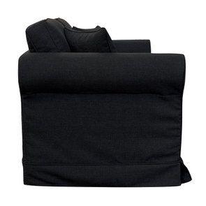 Canapé convertible 2 places en tissu lin anthracite - Crowson - Visuel n°8