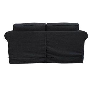 Canapé convertible 2 places en tissu lin anthracite - Crowson - Visuel n°9