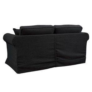 Canapé convertible 2 places en tissu lin anthracite - Crowson - Visuel n°10