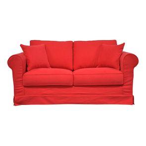 Canapé convertible 2 places en tissu rouge - Crowson - Visuel n°1