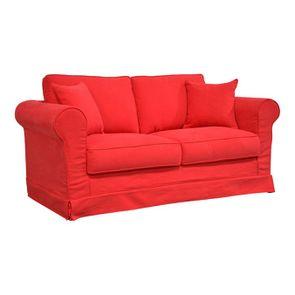 Canapé convertible 2 places en tissu rouge - Crowson - Visuel n°4