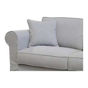 Canapé convertible 2 places en tissu gris clair - Crowson - Visuel n°8
