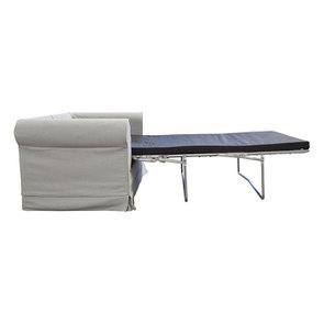 Canapé convertible 2 places en tissu gris clair - Crowson - Visuel n°4