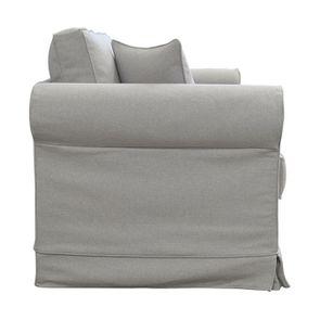 Canapé convertible 2 places en tissu gris clair - Crowson - Visuel n°5