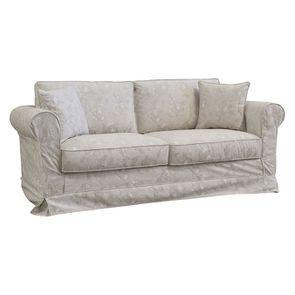 Canapé 3 places en tissu beige à motif - Crowson - Visuel n°2