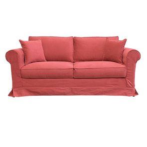 Canapé 3 places en tissu rouge - Crowson - Visuel n°1