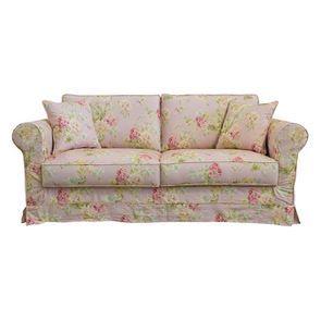 Canapé convertible 3 places en tissu rose fleuri - Crowson