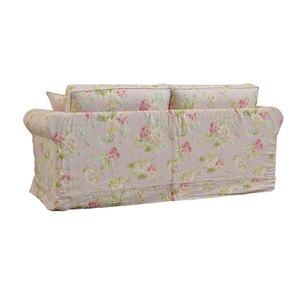 Canapé convertible 3 places en tissu rose fleuri - Crowson - Visuel n°6