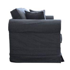 Canapé convertible 3 places en tissu noir - Crowson - Visuel n°6
