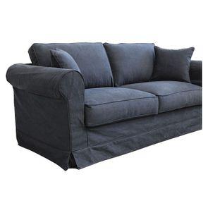Canapé convertible 3 places en tissu noir - Crowson - Visuel n°9