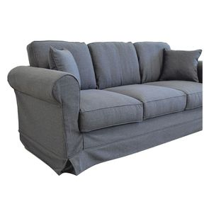 Canapé 4 places en tissu gris - Crowson - Visuel n°6