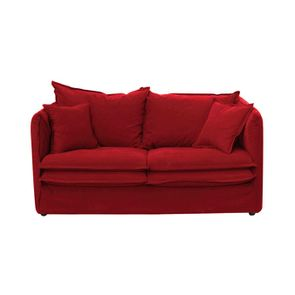 Canapé 3 places en tissu rouge - Hampton
