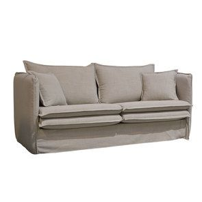 Canapé 3 places en tissu écru - Hampton - Visuel n°2
