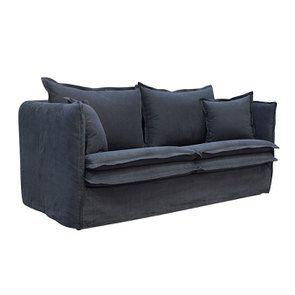 Canapé 3 places convertible en tissu noir - Hampton - Visuel n°6