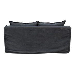 Canapé 3 places convertible en tissu noir - Hampton - Visuel n°8