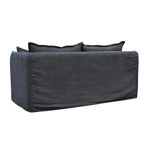 Canapé 3 places convertible en tissu noir - Hampton - Visuel n°9