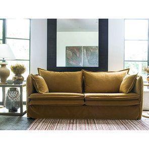 Canapé 4 places en tissu jaune moutarde - Hampton - Visuel n°2