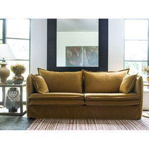 Canapé 4 places en tissu jaune moutarde - Hampton - Visuel n°3