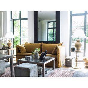 Canapé 4 places en tissu jaune moutarde - Hampton - Visuel n°4