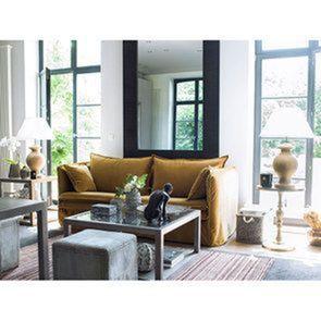 Canapé 4 places en tissu jaune moutarde - Hampton - Visuel n°5