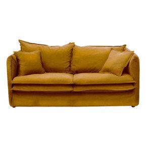 Canapé 4 places en tissu jaune moutarde - Hampton - Visuel n°1