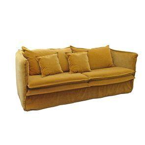 Canapé 4 places en tissu jaune moutarde - Hampton - Visuel n°6