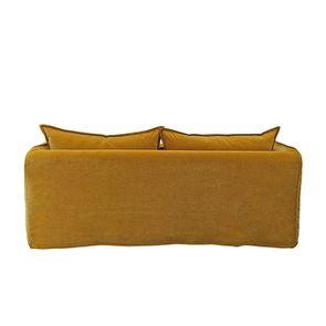 Canapé 4 places en tissu jaune moutarde - Hampton - Visuel n°7