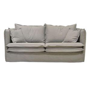 Canapé 4 places gris clair en tissu - Hampton - Visuel n°1