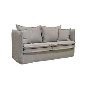 Canapé 4 places gris clair en tissu - Hampton - Visuel n°2