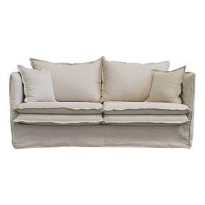 Canapé 4 places en tissu beige - Hampton - Visuel n°1