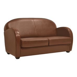 Canapé club convertible en cuir cognac 3 places - Steed