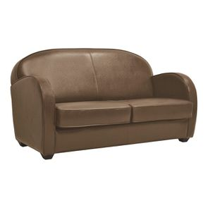 Canapé club convertible en cuir marron clair 3 places - Steed
