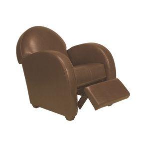 Fauteuil relax club en cuir marron clair - Steed