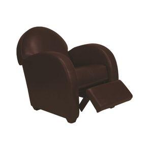Fauteuil relax club en cuir marron foncé - Steed - Visuel n°1