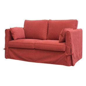 Canapé 2 places en tissu rouge - Welsh - Visuel n°2