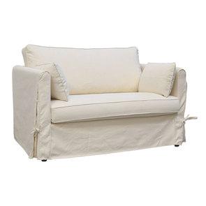 Canapé 2 places en tissu écru  - Welsh - Visuel n°2