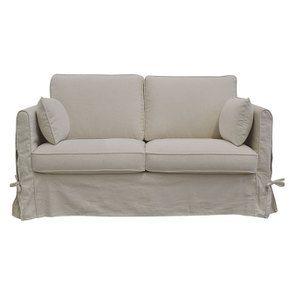 Canapé 2 places en tissu couleur lin naturel  - Welsh