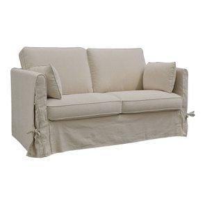 Canapé 2 places en tissu couleur lin naturel  - Welsh - Visuel n°2
