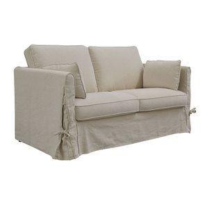 Canapé 2 places en tissu couleur lin naturel  - Welsh - Visuel n°3