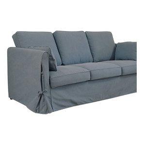 Canapé 4 places en tissu bleu orage - Welsh - Visuel n°6