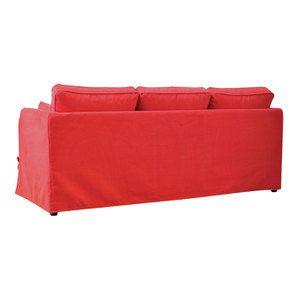 Canapé convertible 4 places en tissu rouge - Welsh - Visuel n°9