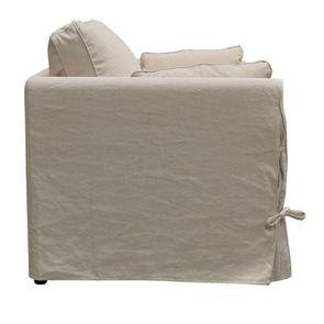 Canapé 2 places en tissu couleur lin beige - mini Welsh - Visuel n°4