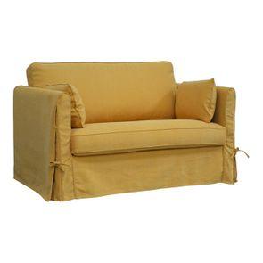Canapé 2 places en tissu jaune - Mini Welsh - Visuel n°2