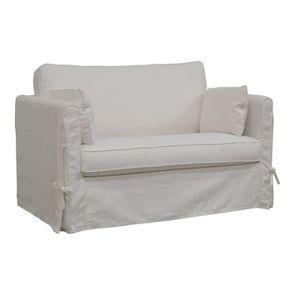Canapé convertible 2 places en tissu blanc - Mini Welsh - Visuel n°2