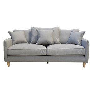 Canapé 4 places en tissu gris clair - Rivoli - Visuel n°2