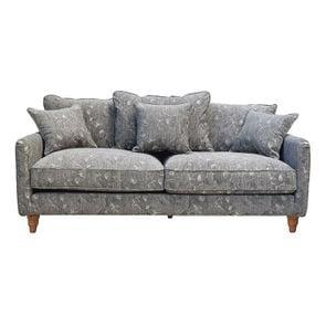 Canapé 4 places en tissu gris à motifs - Rivoli - Visuel n°1
