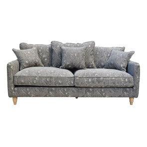 Canapé 4 places en velours gris à motifs - Rivoli